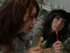 Naughty schoolgirls learn discipline