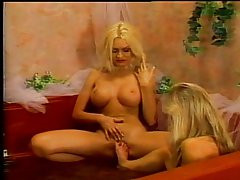 Busty lesbian bathub bimbos in spicy action