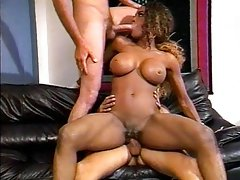 Busty ebony biker fucked by two cocks