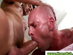 Double fellatio during gay massage