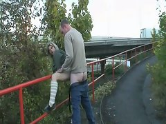 Hot babe fucked by horny dude next to the road