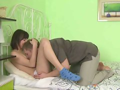 Horny young brunette getting her boobs kissed