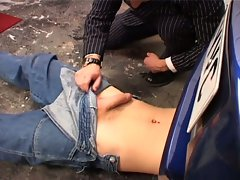 Two gay boys suck and fuck on car at work