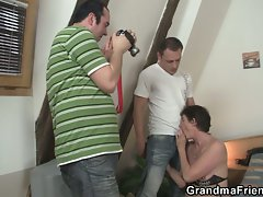 Hot threesome with nasty old whore !