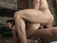 Double anal climax with a nasty brunette
