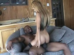 Nasty ebony hottie bouncing up and down monster black cock