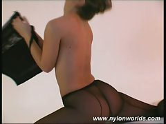 Young blonde ballerina rips-off her nylon dress