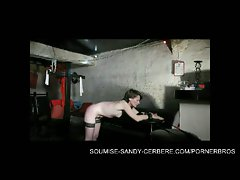 European slave in bondage with sandy