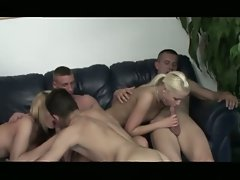 Bisex creampie in college group-sex