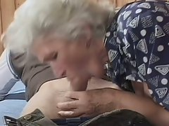 White haired granny becomes a nasty whore for huge young cock