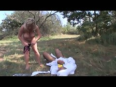 Hot blonde babe fucks this diaper fetish guy outdoors