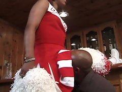 Chick ebony cheerleaders get pussy rammed