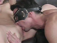 Sexy blonde hustler overpowering horny dude in diaper