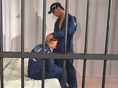 Hot muscled gay hunks anal pumping behind bars