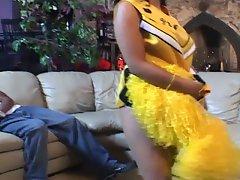 A hot ebony cheerleasder gets pounded hard by horny guy