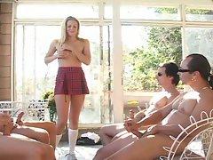 Lovely blonde slut enjoying hardcore gang fucking session