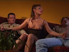 Threeway fervent desires with cum hungry brunette
