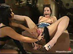 Dana DeArmond and Sandra Romain both love lesbian bondage. Bound