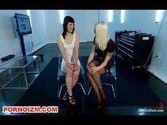 Lesdom Electro BDSM Training of Slave and Humiliation
