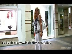 Emily _ Amateur blonde flashing her natural boobs in public