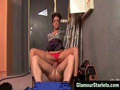 Classy stockings brunette hoe