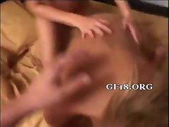 Gal stimulates her clit