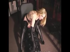Prodomme queens her encased slaves face
