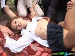 Outdoor Hot Asians Get Hardcore Sex clip-19