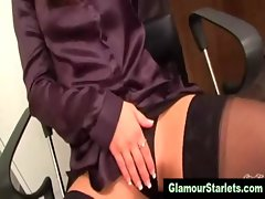 Glamour satin office girls using copier with their pussies