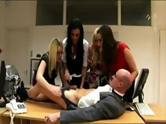 Hot office babes get femdom on the boss at the office