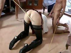 Mature wearing uniform gets spanked