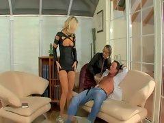 Watch femdom blonde hottie tease loser