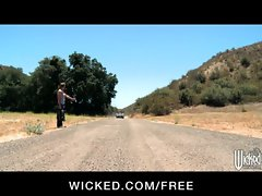 Hot blonde Nicole Aniston picks up a hitchhiker for road-side sex