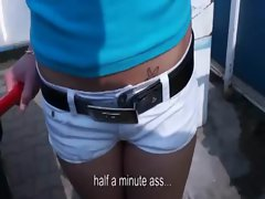 Sexy carwash chick shows her boobs and gets fucked and facialized in public