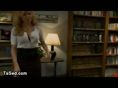Busty tranny teacher fucks bound guy in her office