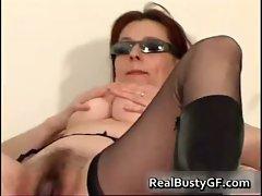 Stunning round tits mom dildo fucked