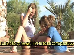 Lina tender hot naked blonde slut near a pool with her babefriend