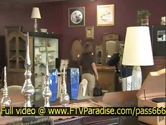 Brittni tender amazing blonde babe in a antique shop
