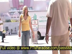 Candace tender teen blonde babe outside a restaurant