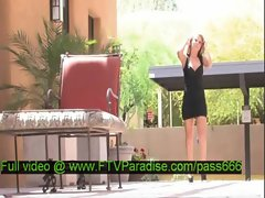Brigitte splendid blonde babe walking outside