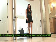 Claire amazing brunette babe walking in the bathroom