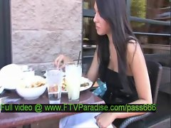 Claire amazing brunette babe in a restaurant