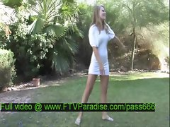 Brigitte mesmerising blonde babe undresses in the garden