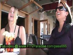 Julia amazing brunette babe talking with her babefriend in a restaurant