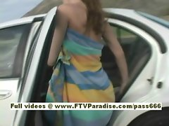 Andrea nasty redhead babe climb into the back of a car