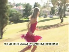 Katelynn cute blonde babe running besides sprinklers