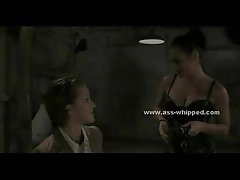 Teen babe undressed by lesbian mistress