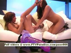 Rissi and Renna Ingenious naked hot babes on the sofa