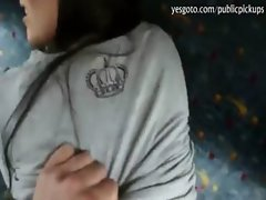 Filthy gf flashes her tits and pounded for money