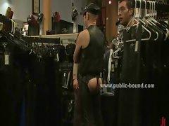 Men in shop walk around gay prey
